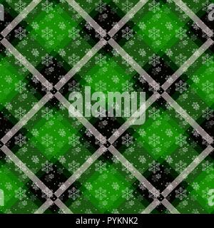 White snowflakes seamless with green tartan pattern. Winter white snow and plaid holidays collection. Vector illustration. eps 10 - Stock Photo