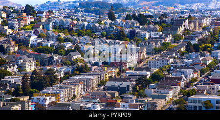 Dense housing in San Francisco CA on a sunny day - Stock Photo
