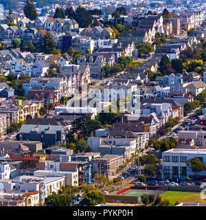 Dense residential area in San Francisco California - Stock Photo