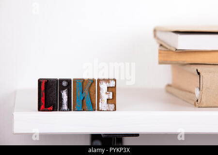 Like word from colored wooden letters  - Stock Photo