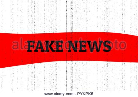 Fake news concept. Red, black and white vector illustration with grunge photocopy texture - Stock Photo