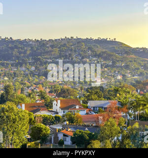 Residential homes on rolling hills in San Clemente - Stock Photo