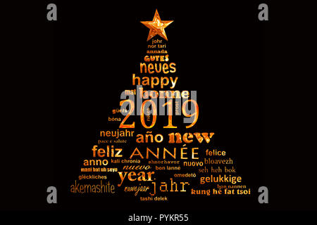 2019 new year multilingual text word cloud greeting card in the shape of a christmas tree - Stock Photo