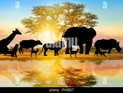 Silhouette of wild animals lined on african acacia tree background at sunrise light reflected on a pond. Serengeti wildlife area in Tanzania, Africa. African safari scene savannah landscape. Wallpaper - Stock Photo