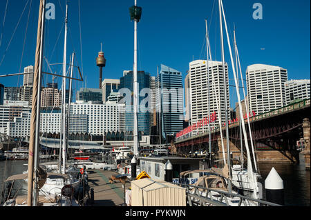 07.05.2018, Sydney, New South Wales, Australia - A view from Darling Harbour of Sydney's city skyline of the Central Business District. - Stock Photo
