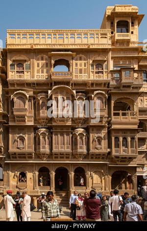 Patwon ki Haveli Manor House, Jaisalmer, Rajasthan, India - Stock Photo