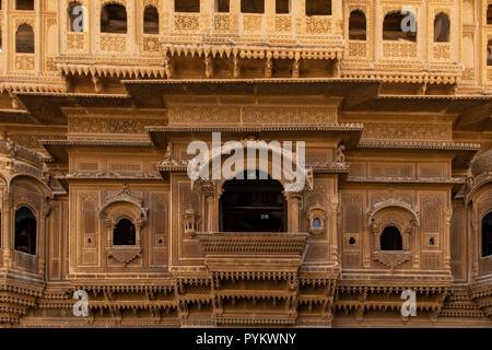 Nathmal ki Haveli Manor House, Jaisalmer, Rajasthan, India - Stock Photo