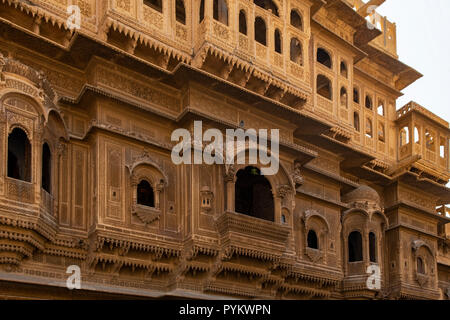 Nathmal ki Haveli Manor House, Jaisalmer, Rajasthan, India - Stock Photo