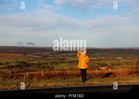 A woman gazes out over moorland at The North York Moors in North Yorkshire, England, UK on a bright autumn day - Stock Photo