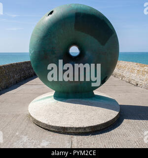 Afloat by Hamish Black public sculpture at Groyne on seafront Brighton Sussex UK