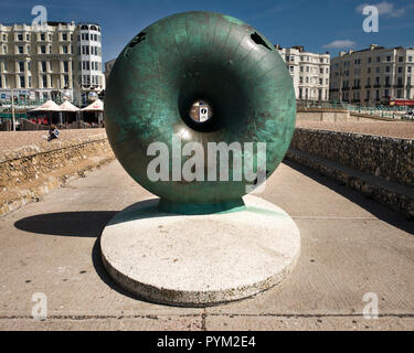 Afloat by Hamish Black public sculpture at Groyne on seafront Brighton Sussex UK - Stock Photo