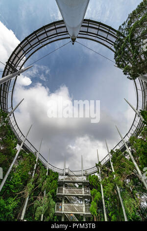 PENANG, 9 august 2018 - Up view of the Penang hill canopy walk structure at the top of Penang hill mountain, The Habitat  Malaysia - Stock Photo