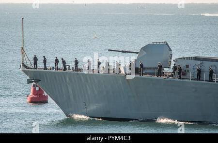 HMS Montrose leaving Plymouth for a 3 year deployment.
