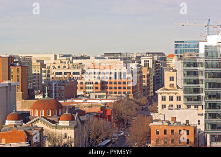 Urban panorama of US capital in Chinatown neighborhood, Washington DC, USA. Early morning landscape with modern and historic city buildings. - Stock Photo