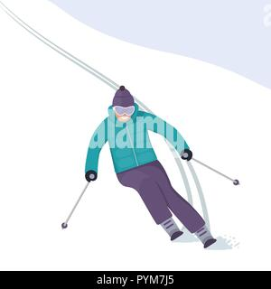 The skier rushes down the slope with a smile on his face. Winter holidays in the mountains. Alpine skiing. Vector illustration in flat style - Stock Photo
