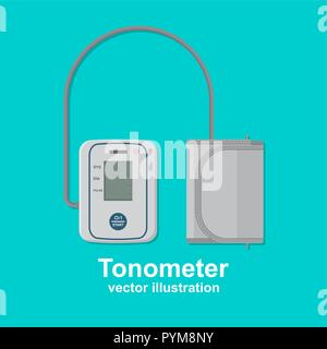 Digital tonometer. Icon of the device for measurement of arterial pressure. A vector illustration in flat style. - Stock Photo