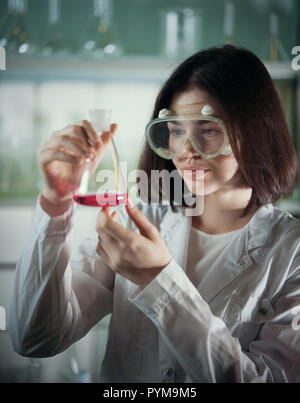 Chemical laboratory. Young woman in work glasses looking at the flask - Stock Photo