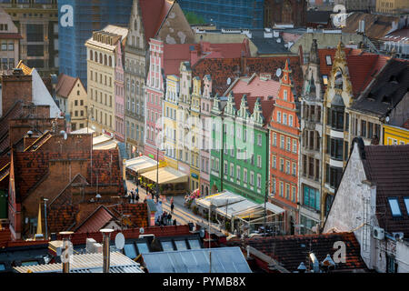 Wroclaw, aerial view of colorful high gabled buildings lining the north side of the Old Town Market Square (Rynek) in Wroclaw, Poland. - Stock Photo