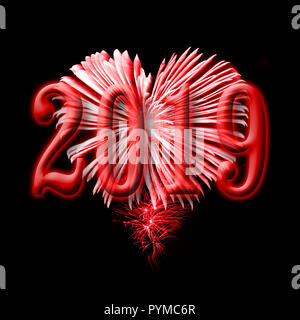 2016, red fireworks in the shape of a heart - Stock Photo