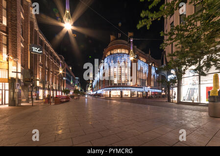 THE HAGUE, 7 January 1018 - Night view of The Hague center city abandoned by people and pedestrians, The Netherlands - Stock Photo