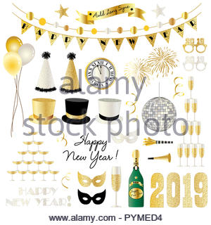 2019 new years eve clipart vector graphics - Stock Photo