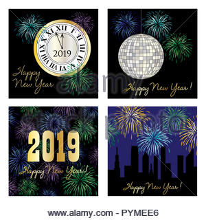 new years eve 2019 square vector graphics - Stock Photo
