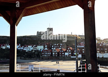 A view of St Mary's Church seen from Whitby, North Yorkshire, Uk, harbourside. - Stock Photo