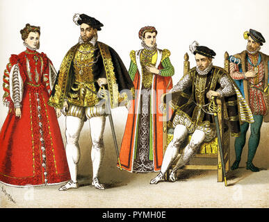 The figures represented here are all French people between 1550 and 1600. They are from left to right:  Elizabeth (also Elizabeth of Valois - daughter of Henry II, third wife of Philip II of Spain), Henry II (died 1559); consort of Charles IX; Charles IX and Charles IX (died 1574). This illustration dates to 1882. - Stock Photo