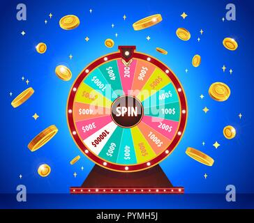 Wheel of Fortune with gold 3d coins, lottery and luck. - Stock Photo