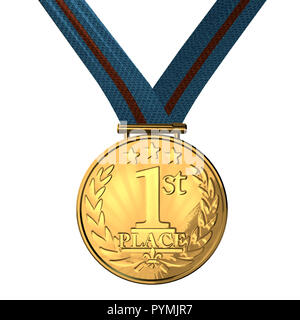 gold medal isolated on a white. 3d illustration - Stock Photo
