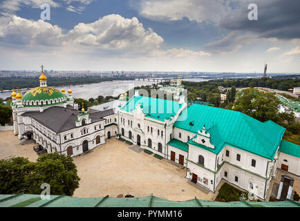 Church with golden domes at Kiev Pechersk Lavra Christian complex. Old historical architecture in Kiev, Ukraine - Stock Photo