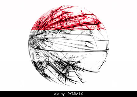 Abstract Yemen sparkling flag, Christmas ball concept isolated on white background - Stock Photo