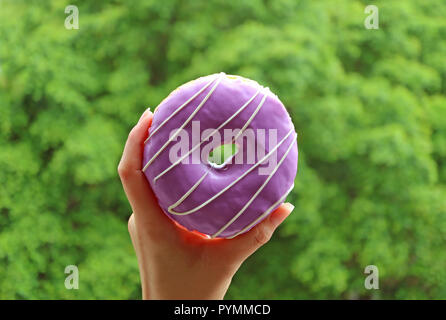 Woman's Hand Holding a Purple Blueberry Glaze Doughnut with Blurred Bright Green Foliage in Background - Stock Photo