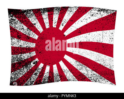 A grunge version of the Japanese Flag with wave - Stock Photo