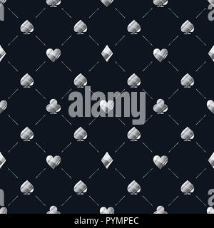 Luxury seamless pattern with bright glossy silver card suits icons like hearts, diamond, spades on blue - Stock Photo