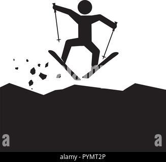 silhouette man skiing icon vector illustration design - Stock Photo