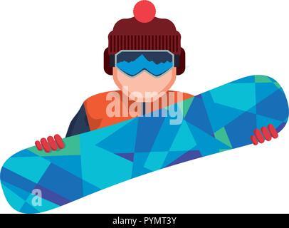 character snowboard athlete icon vector illustration design - Stock Photo
