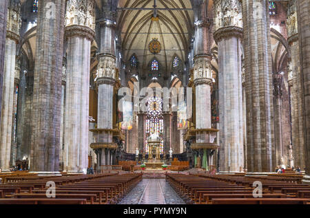 Milan, Italy, The interior of the Duomo Cathedral, the central nave - Stock Photo