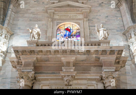Milan, Italy, The interior of the Duomo Cathedral, the balconies with the colorful stained glass Stock Photo