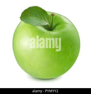 Green cooking apple isolated on white background. Package design element with clipping path - Stock Photo
