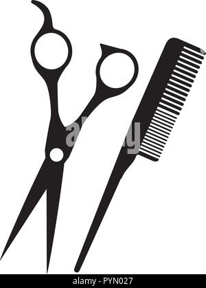 barber shop scissors with comb vector illustration design - Stock Photo