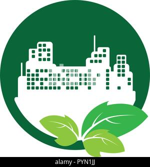 green city buildings ecology icons vector illustration design - Stock Photo