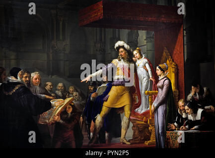 Pelagio Palagi, (1775-1860), Gustavo, Adolfo, King of Sweden, before leaving, for the religious war, receive from,  the General Assembly , the oath of loyalty, to his, daughter Cristina, 1824, Italy, Italian, Sweden Swedish ( Gustav II Adolf 1594 – 1632, or Gustavus Adolphus or as Gustav II Adolph ) - Stock Photo