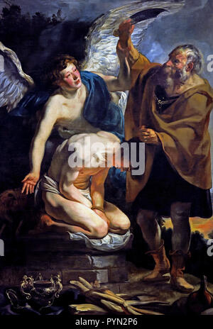 The Sacrifice of Isaac 1625 - 1626 by Jacob JORDAENS 1593 - 1678 Belgium Begian ( God asks Abraham to sacrifice his son, Isaac, on Moriah. Abraham begins to comply, when a messenger from God interrupts him. Abraham then sees a ram and sacrifices it instead. ) - Stock Photo