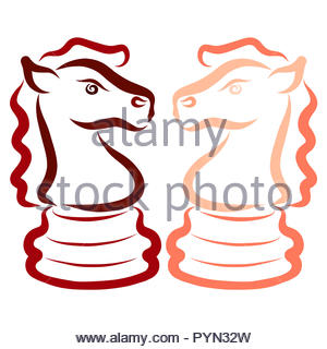 Two horses, chess pieces, knights, opponents, intellectual game - Stock Photo