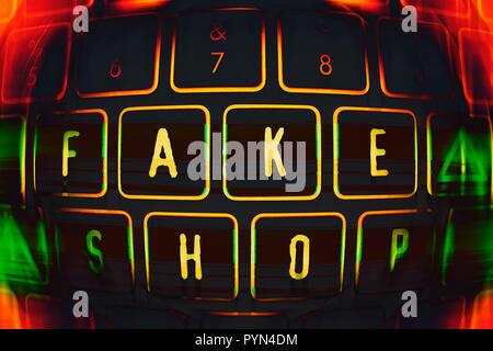 Computer keyboard with the label Fake shop, Computertastatur mit der Aufschrift Fake Shop - Stock Photo