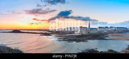 Medieval fortress Saint-Malo, Brittany, France - Stock Photo
