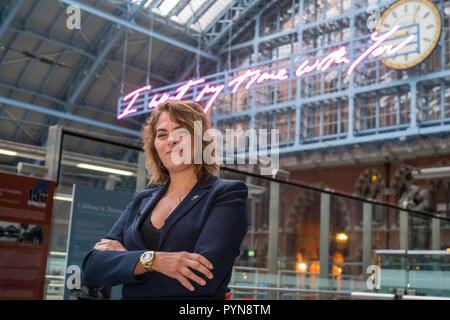 Tracey Emin Unveils 2018 Terrace Wires art commission at St Pancras International: - Stock Photo