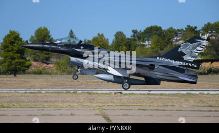 F-16 Fighting Falcon of Belgium Air Force is landing in airshow (Dark Falcon) - Stock Photo