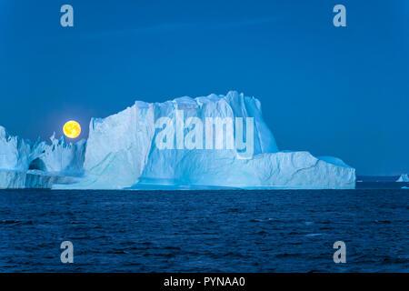 Abendstimmung, Vollmond hinter einem Eisberg, Grönland, Nordpolarmeer, Arktis | Fullmoon behind a iceberg, Greenland, North polar ocean, Arctic - Stock Photo